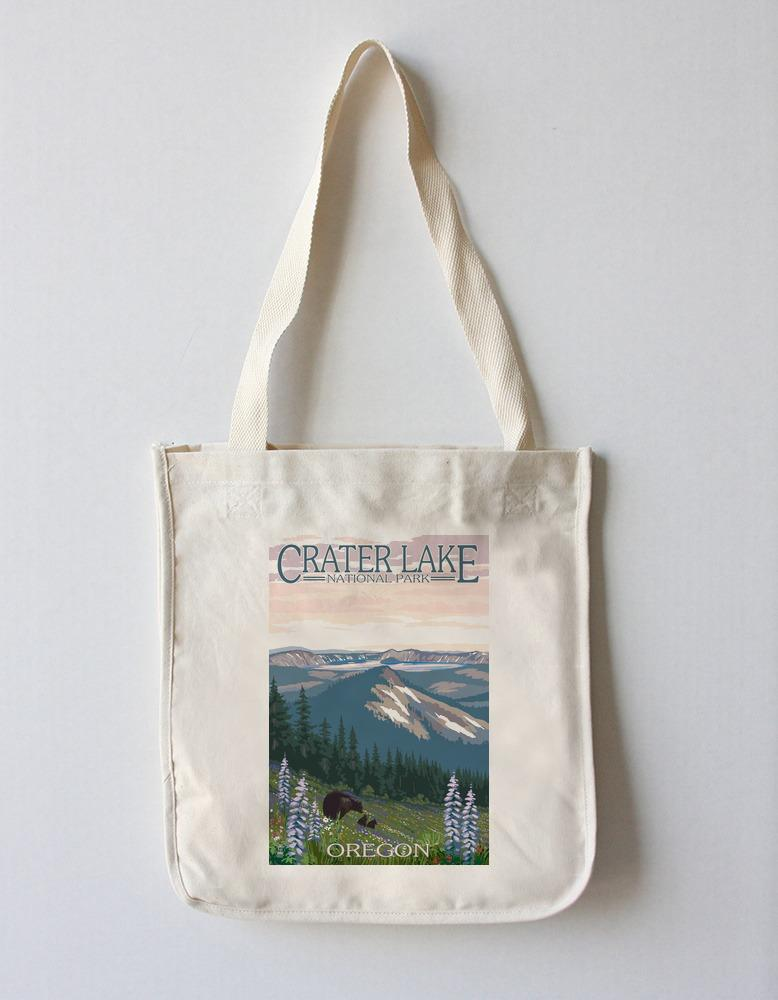 Tote Bag (Crater Lake National Park, Oregon - Spring Flowers & Bear Family - Lantern Press Artwork) Tote Bag Nightingale Boutique Tote Bag
