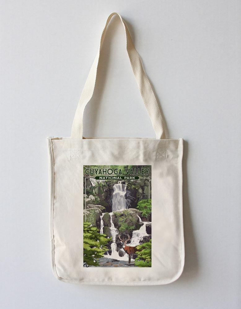 Tote Bag (Cuyahoga Valley National Park, Ohio - Deer and Falls - Lantern Press Artwork) Tote Bag Nightingale Boutique Tote Bag