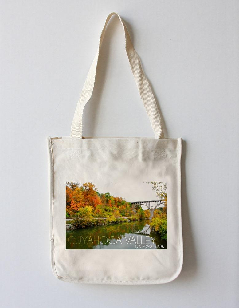 Tote Bag (Cuyahoga Valley National Park, Ohio - Fall Foliage & Bridge - Lantern Press Photography) Tote Bag Nightingale Boutique Tote Bag