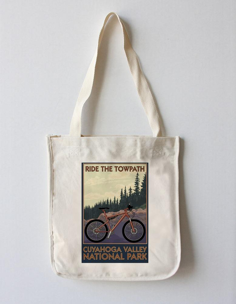 Tote Bag (Cuyahoga Valley National Park, Ohio - Mountain Bike - Lantern Press Artwork) Tote Bag Nightingale Boutique Tote Bag