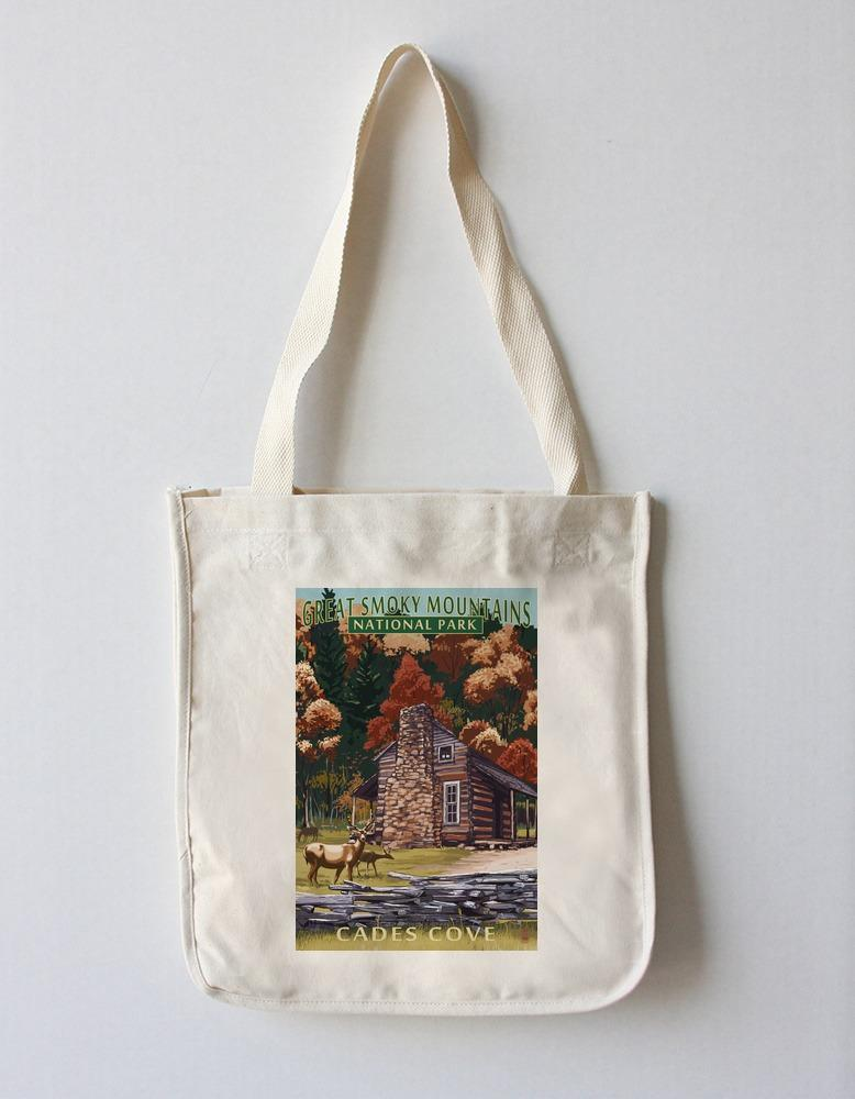 Tote Bag (Great Smoky Mountains National Park, Tennesseee - Cades Cove & John Oliver Cabin - Lantern Press Artwork) Tote Bag Nightingale Boutique Tote Bag