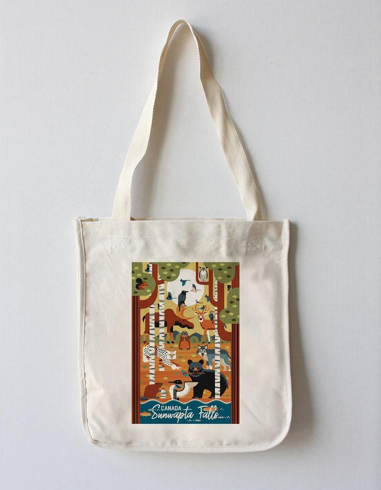 Tote Bag (Jasper National Park, Canada - Forest Animals - Geometric - Lantern Press Artwork) Tote Bag Nightingale Boutique Tote Bag