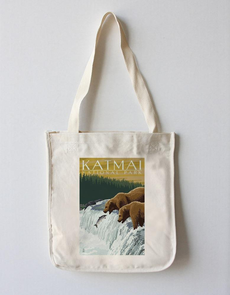 Tote Bag (Katmai National Park, Alaska - Bears - Lantern Press Artwork) Tote Bag Nightingale Boutique Tote Bag