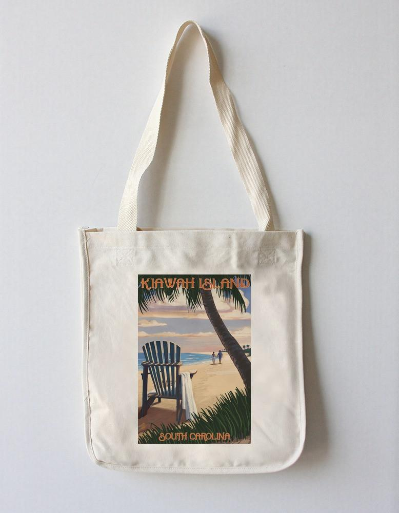 Tote Bag (Kiawah Island, South Carolina - Adirondack & Palms - Lantern Press Artwork) Tote Bag Nightingale Boutique Tote Bag