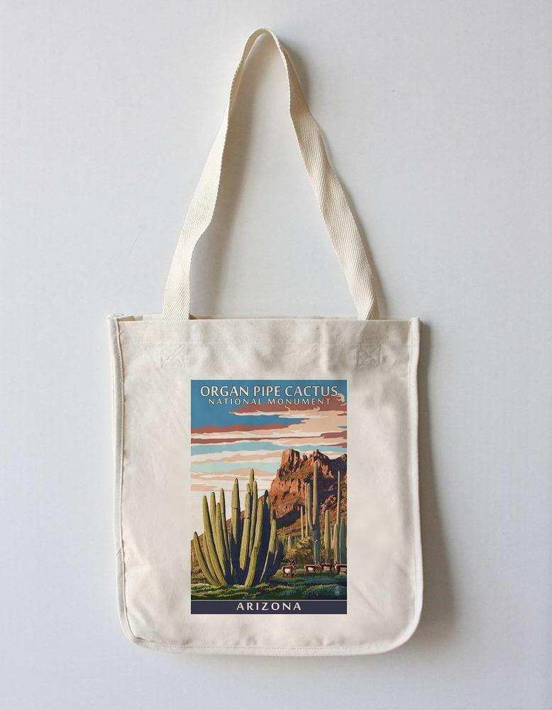Tote Bag (Organ Pipe Cactus National Monument, Arizona - Lantern Press Artwork) Tote Bag Nightingale Boutique Tote Bag
