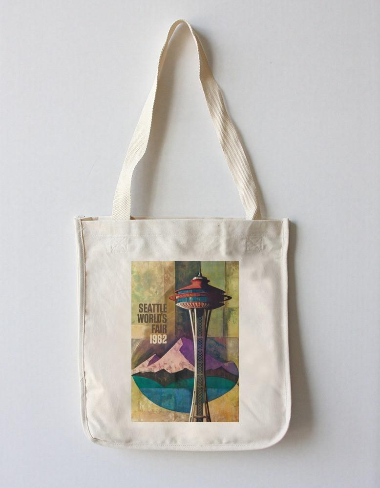 Tote Bag (Seattle, Washington - Space Needle World's Fair - Vintage Travel Poster) Tote Bag Nightingale Boutique Tote Bag
