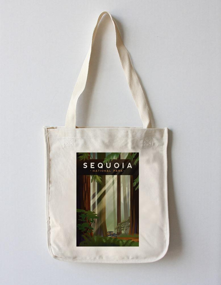 Tote Bag (Sequoia National Park, California - Redwood Forest - Geometric Lithograph - Lantern Press Artwork) Tote Bag Nightingale Boutique Tote Bag
