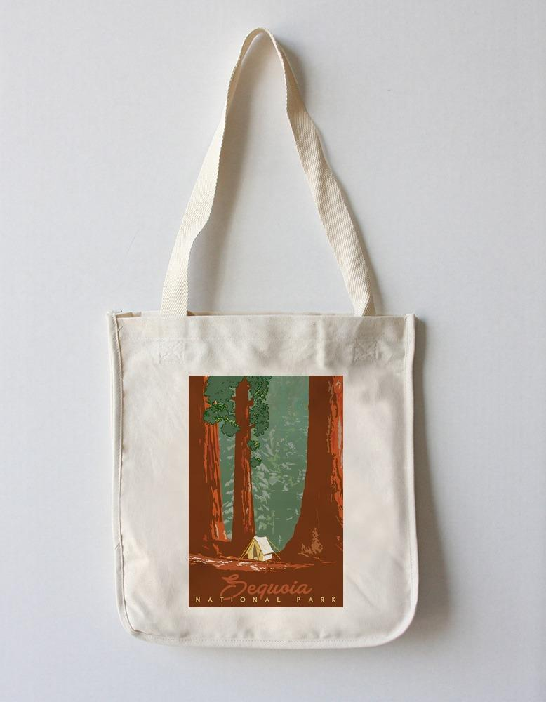 Tote Bag (Sequoia National Park, California - Redwood Forest View - Sequoias & Tent - Lantern Press Artwork) Tote Bag Nightingale Boutique Tote Bag