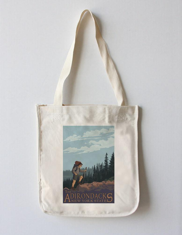 Tote Bag (The Adirondacks, New York - Hiking Scene - Lantern Press Artwork) Tote Bag Nightingale Boutique Tote Bag