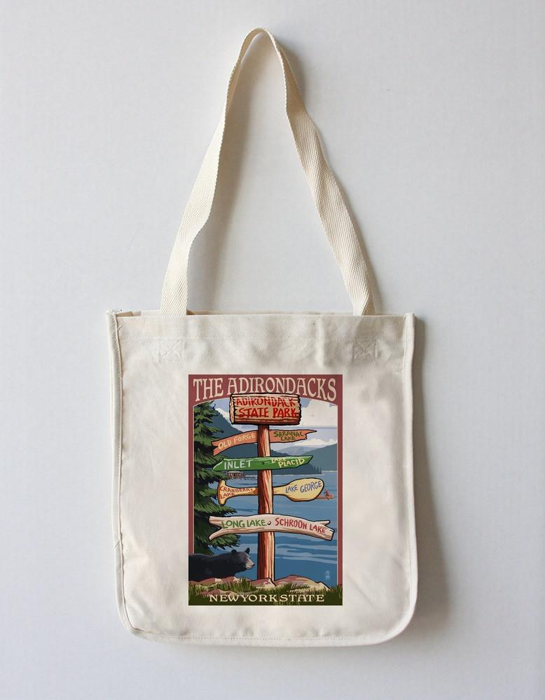 Tote Bag (The Adirondacks, New York State - Destinations Sign - Lantern Press Artwork) Tote Bag Nightingale Boutique Tote Bag
