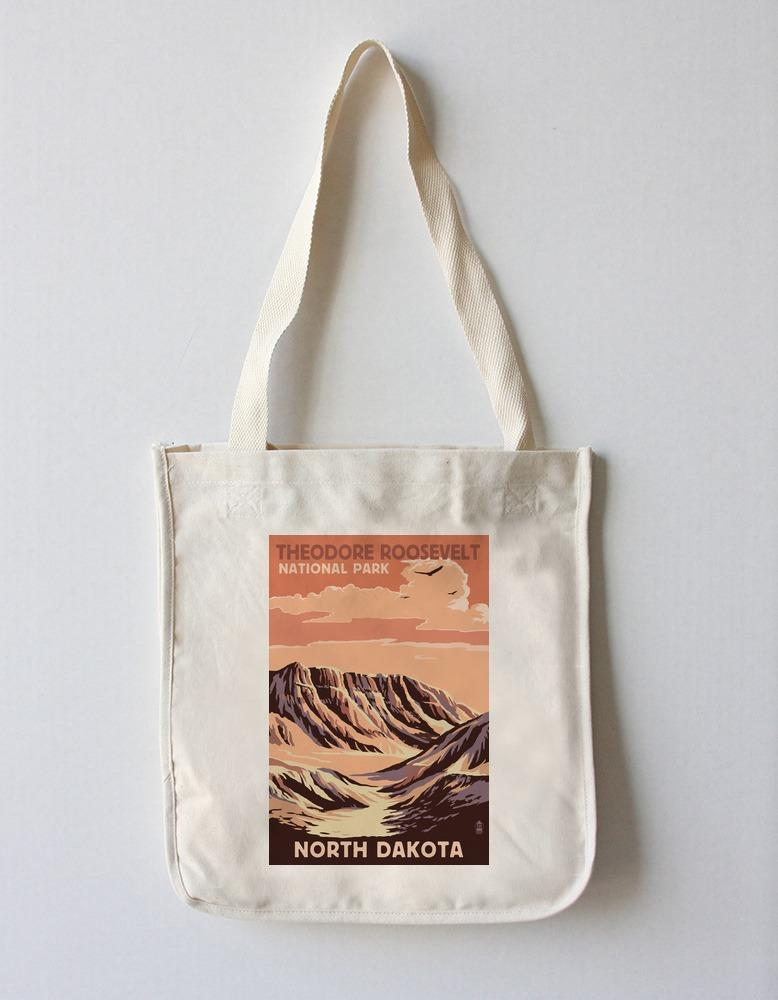 Tote Bag (Theodore Roosevelt National Park, North Dakota - Buttes - Lantern Press Artwork) Tote Bag Nightingale Boutique Tote Bag