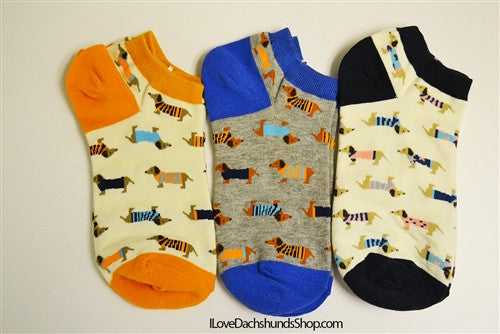 Dachshund in Striped Sweaters Cotton Peds Socks