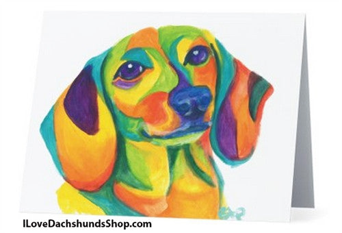 Colorful Dachshund Note Card - with Envelope + FREE SHIPPING