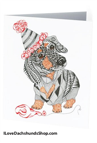 Dachshund Birthday Red Balloon Note Card - with Envelope + FREE SHIPPING