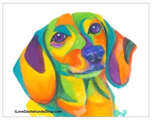 Colorful Dachshund Watercolor Print