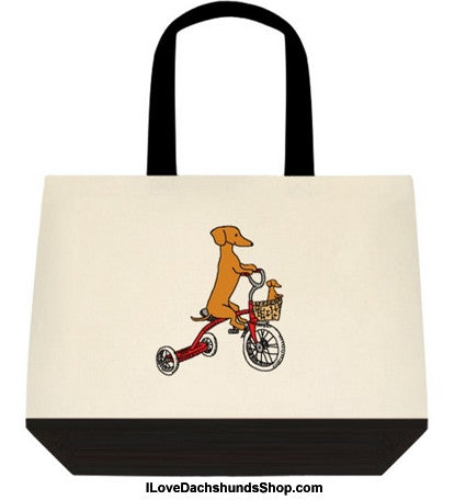 Dachshund Mom and Baby Bike Ride Extra Large Tote