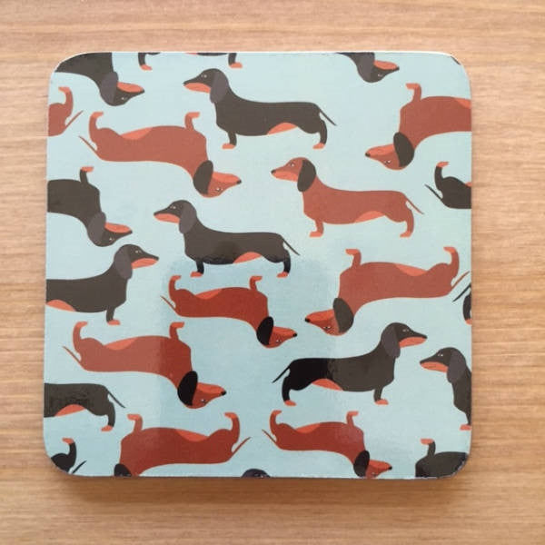 Dachshund Coasters Set 6 Black + Tan Red