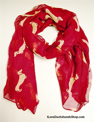 Dachshund Scarf or Sarong Red and White