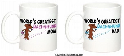World's Greatest Dachshund Mom and Dad Mug Set of 2