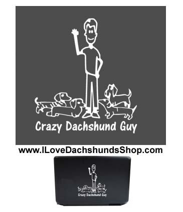Crazy Dachshund Guy Decal Sticker