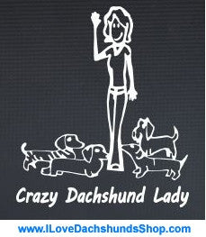 Crazy Dachshund Lady Decal Sticker