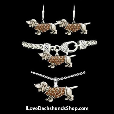Dachshund 3 Piece (Bracelet, Earrings, Necklace) Collection Set