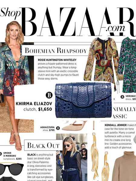 Harper's Bazaar Fall Blue Navy Python Croc Khirma New York Herzog Clutch