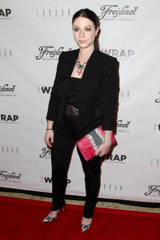michelle trachtenberg Khirma New York red crocodile natural python envelope Herzog Clutch