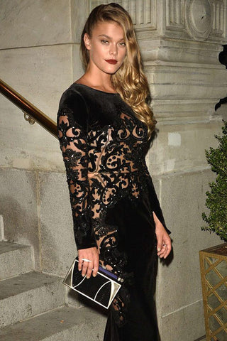 Nina Agdal Khirma New York black watersnake python with gold Marchese box clutch