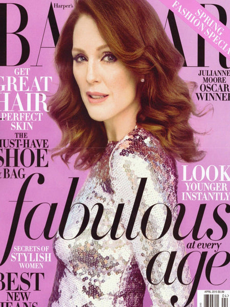 Harper's Bazaar Fall Blue Navy Python Croc Khirma New York Herzog Clutch / Julianne Moore
