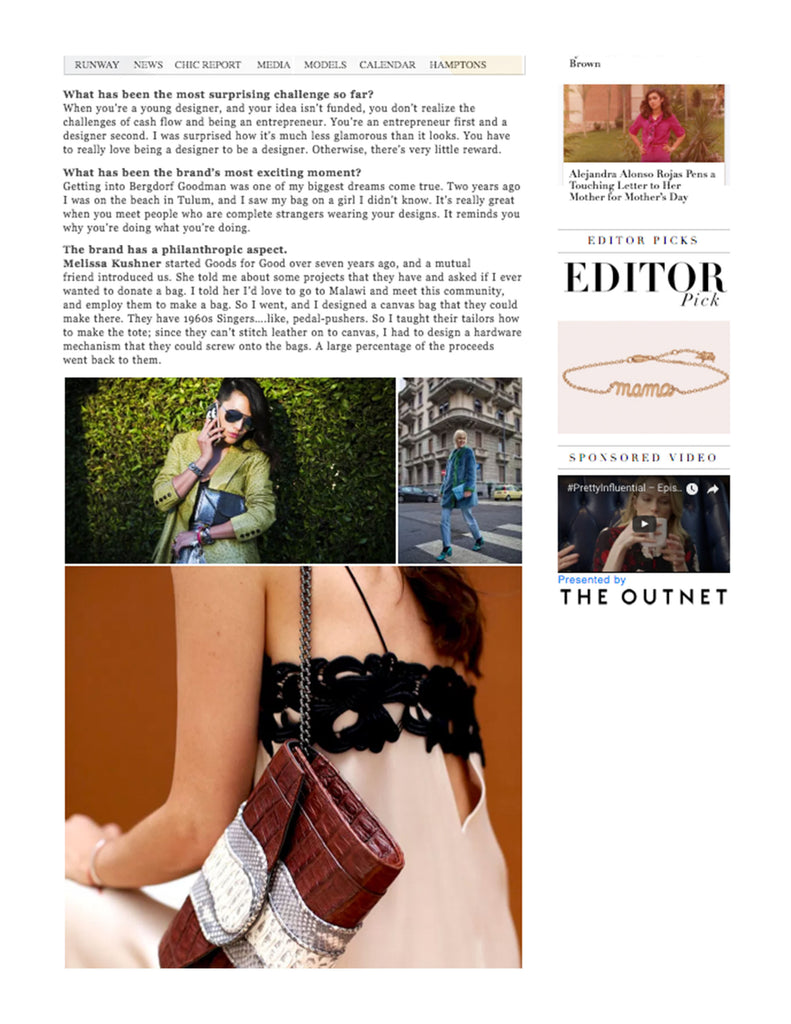 Fashion Weekly The Daily Front Row Chic Report Khirma New York exotic python, watersnake, crocodile skin handbag & clutch designer. Featuring the Crocodile Herzog Clutch & Babo Clutch