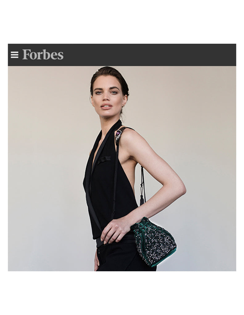 Forbes Khirma New York x Swarovski for YoungArts Foundation - Arison evening Pouch in emerald velvet