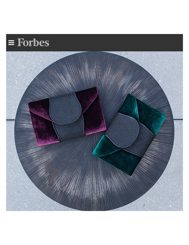 Forbes velvet and stingray Khirma New York Babo Clutch