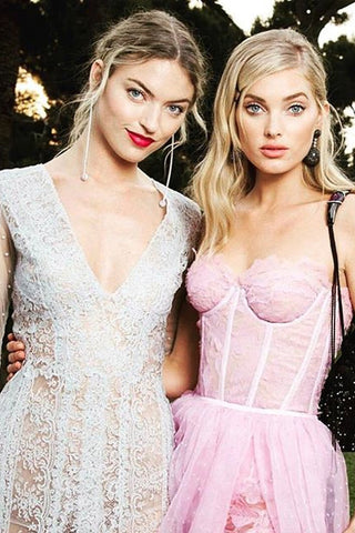 Marta Hunt & Elsa Hosk  Khirma New York x Swarovski x YoungArts foundation Arison evening pouch with embroidered crystals