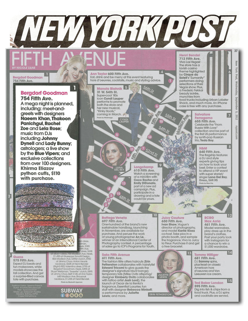 New York Post Bergdorf Goodman Fifth Ave - Khirma New York exotic python & crocodile skin with swarovski crystal cuff bracelet