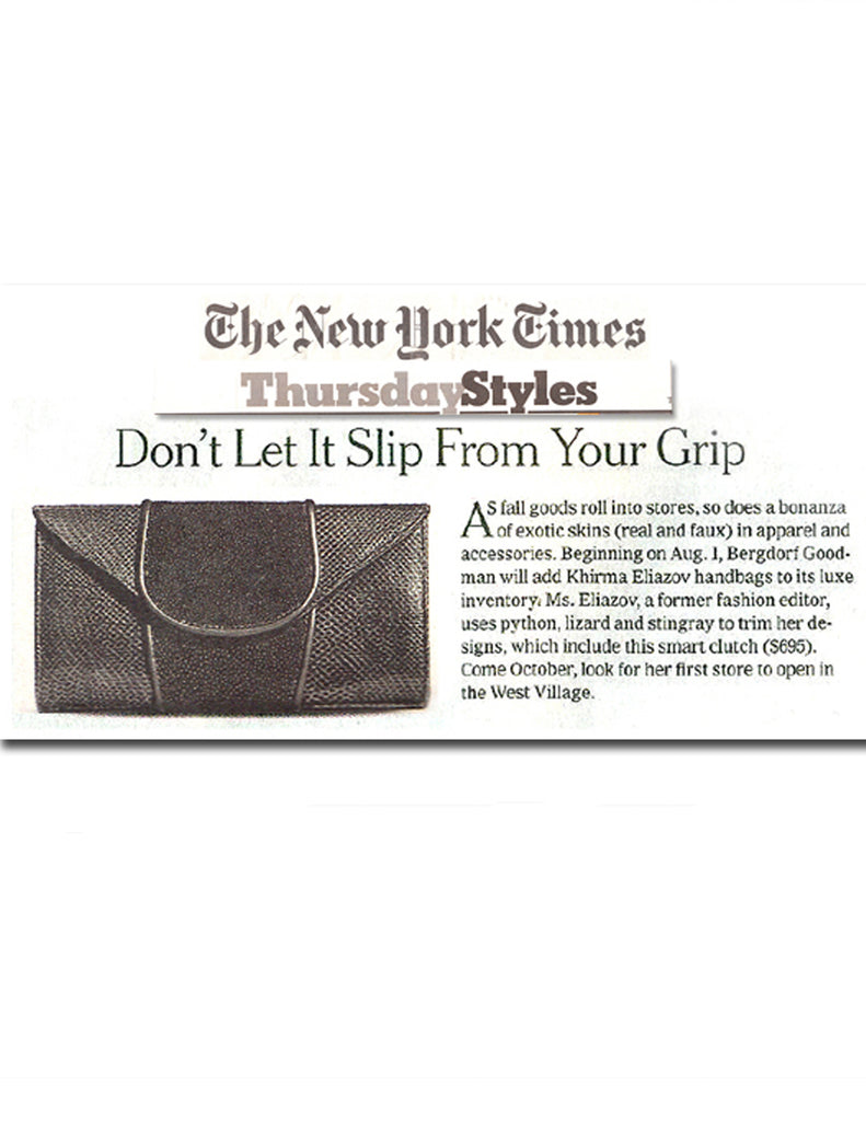 The New York Times Thursday Styles exotic lizard & stingray skin Khirma New York Babo Clutch