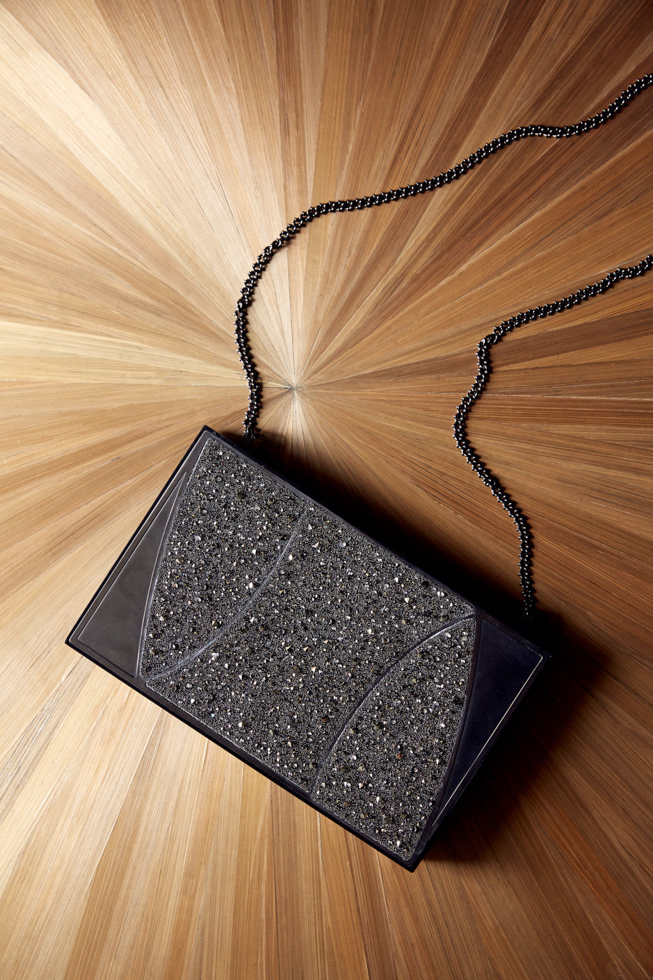 Khirma New York Unique Luxury Designer Swarovski Crystal Box Clutch Purse. Removable chain for the perfect evening clutch. Mirror Gunmetal and Silver