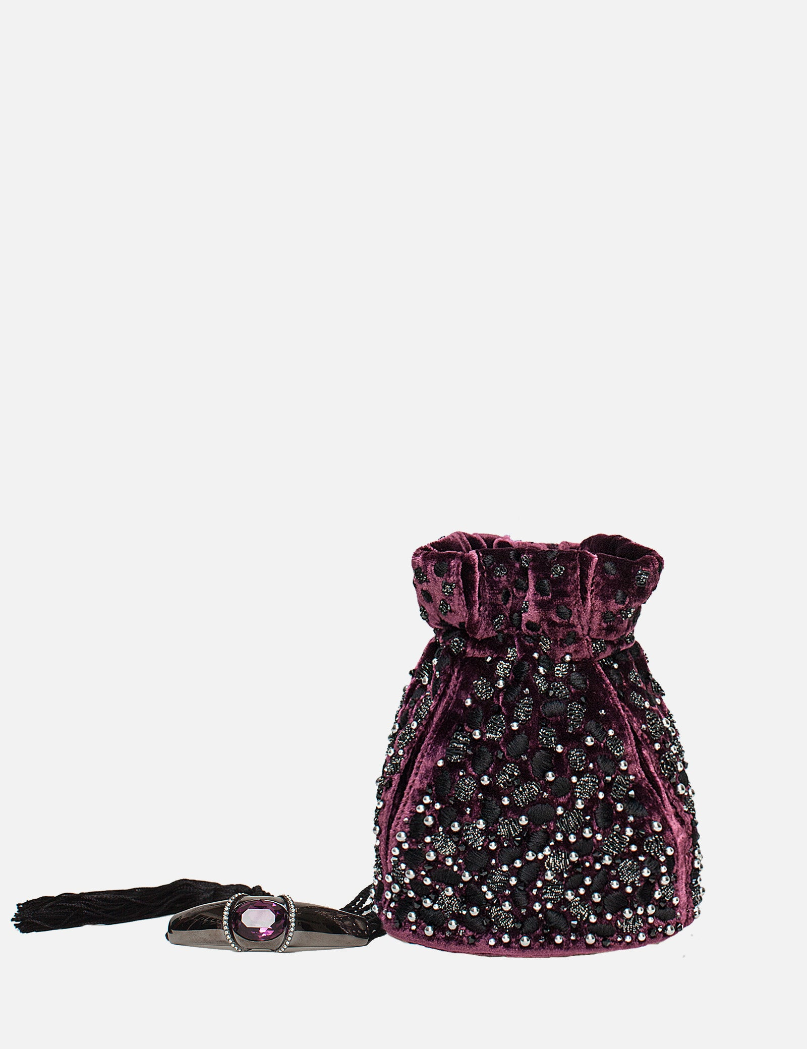 Khirma New York Unique Luxury Designer Velvet Cranberry Pouch with Embroidered Swarovski Crystals. The perfect evening pouch. Designed to to be worn on the shoulder or as a top handle with an adjustable satin drawstring. 15% of all proceeds will go to the Youngarts foundation.