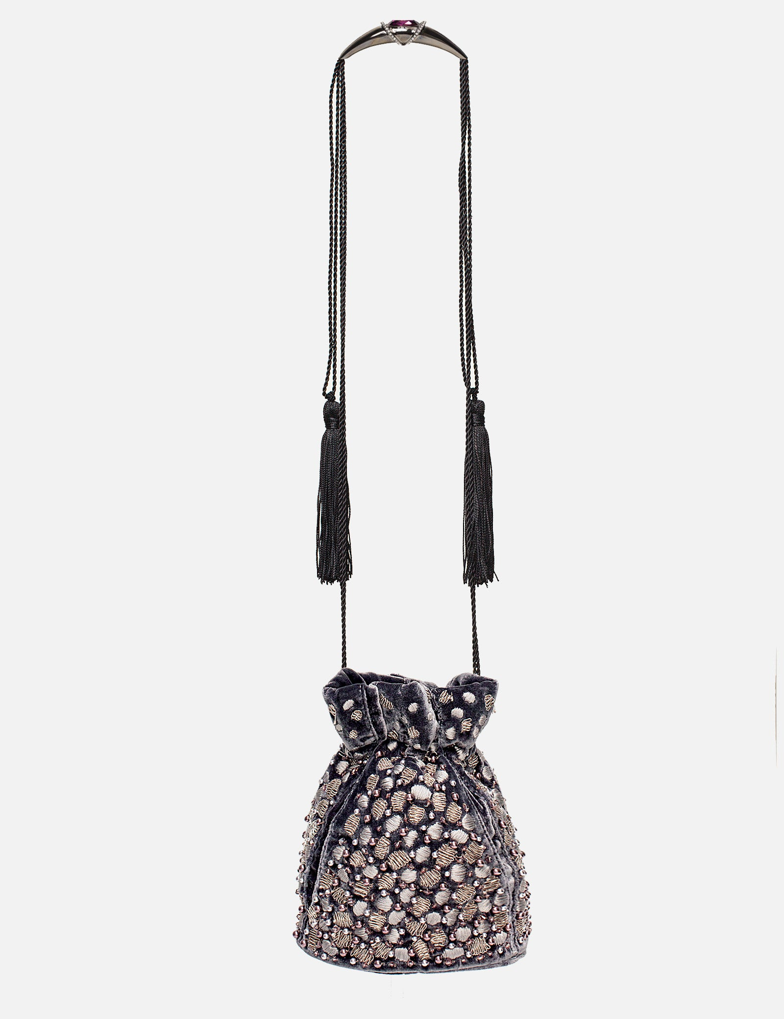 Khirma New York Unique Luxury Designer Velvet Gray Pouch with Embroidered Swarovski Crystals. The perfect evening pouch. Designed to to be worn on the shoulder or as a top handle with an adjustable satin drawstring. 15% of all proceeds will go to the Youngarts foundation.