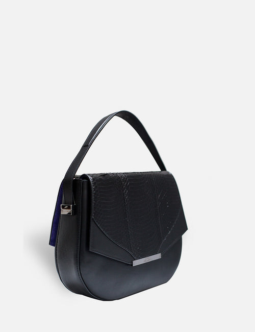 Khirma New York Unique Luxury Designer Exotic Watersnake and Leather Saddle Handbag. Removable crossbody strap. Black