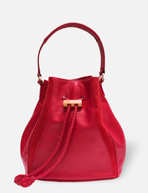 Khirma New York Unique Luxury Designer Leather Edem Bucket Bag with Exotic Skin Watersnake Details in Flame red. Removable cross body strap.