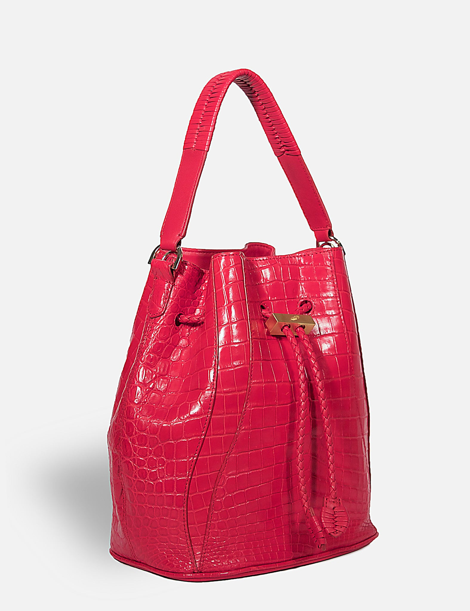 Khirma New York Unique Luxury Designer Exotic Crocodile Skin Edem Bucket Bag in Red. Removable cross body strap.