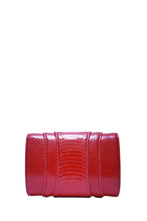 Khirma New York Unique Luxury Designer Exotic Skin Watersnake Clutch Purse. Removable chain for the perfect evening clutch in Red. Can also be worn as a crossbody or shoulder bag