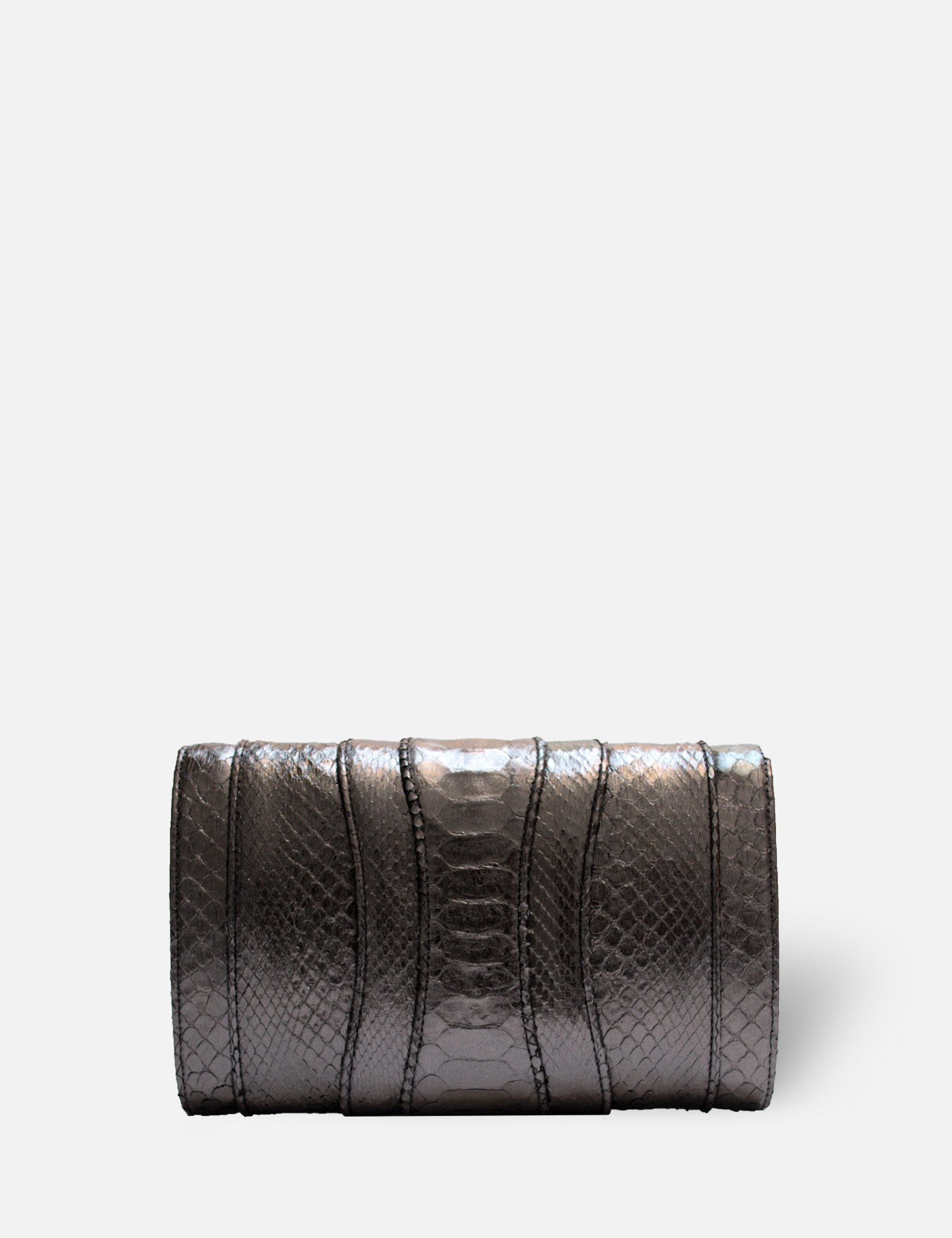 Khirma New York Unique Luxury Designer Exotic Watersnake Python Stingray Crocodile Skin Envelope Clutch Purse in Metallic Gunmetal. Perfect for the day or night. Removable chain for the perfect evening clutch.