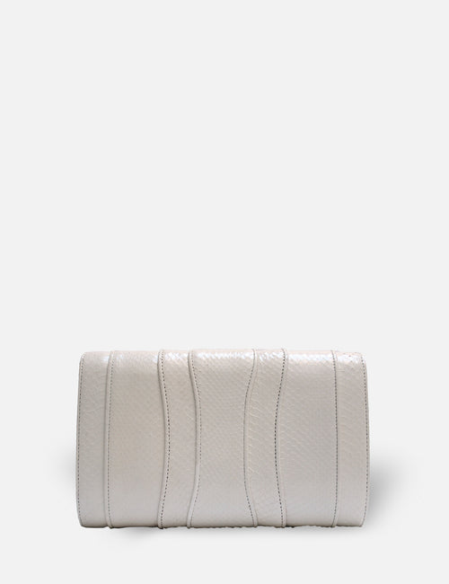 Khirma New York Unique Luxury Designer Exotic Watersnake Python Stingray Crocodile Skin Envelope Clutch Purse in White. Perfect for the day or night. Removable chain for the perfect evening clutch.
