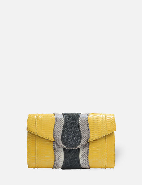 Khirma New York Unique Luxury Designer Exotic Watersnake Python Stingray Crocodile Skin Envelope Clutch Purse in Yellow. Perfect for the day or night. Removable chain for the perfect evening clutch.