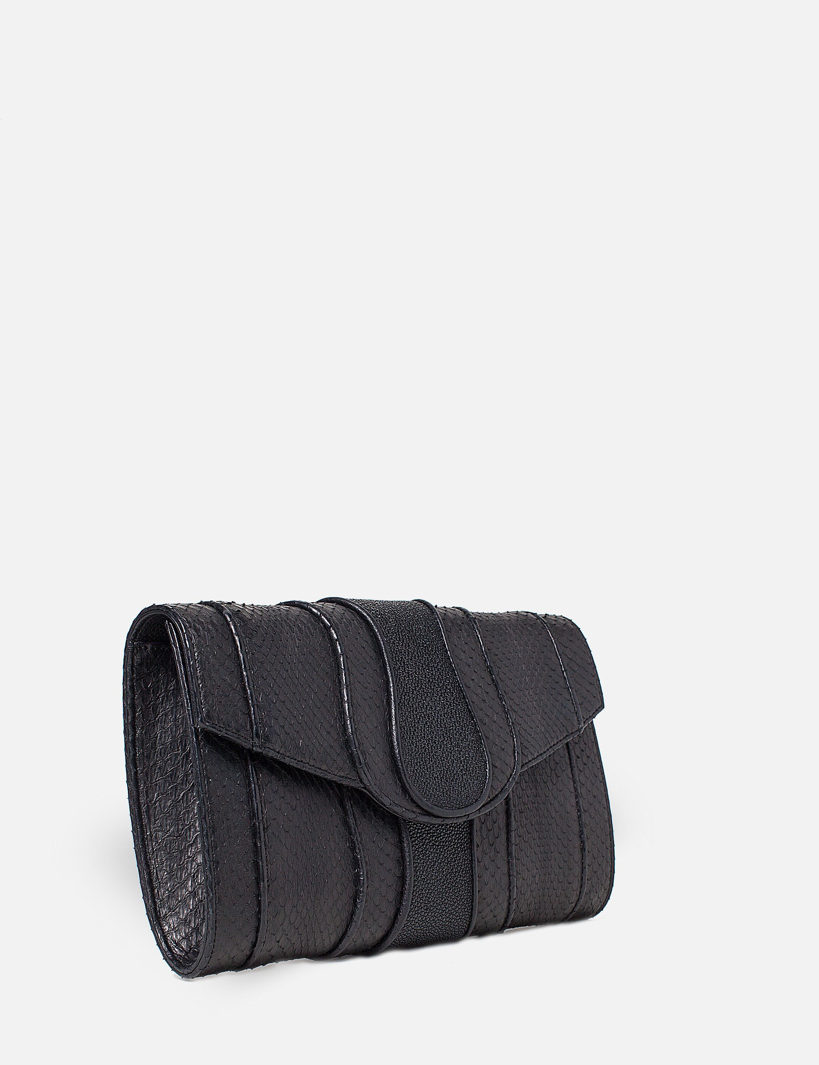 Khirma New York Unique Luxury Designer Exotic Watersnake Python Stingray Crocodile Skin Envelope Clutch Purse in Matte Black. Perfect for the day or night. Removable chain for the perfect evening clutch.