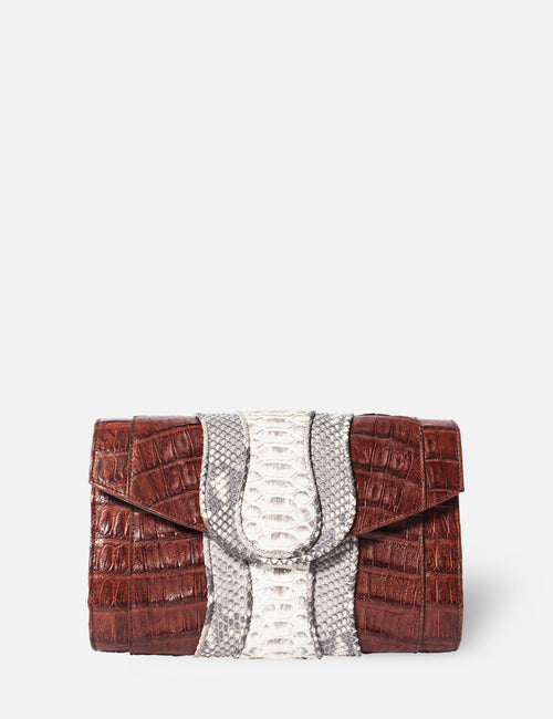 Khirma New York Unique Luxury Designer Exotic Watersnake Python Stingray Crocodile Skin Envelope Clutch Purse in Brown. Perfect for the day or night. Removable chain for the perfect evening clutch.