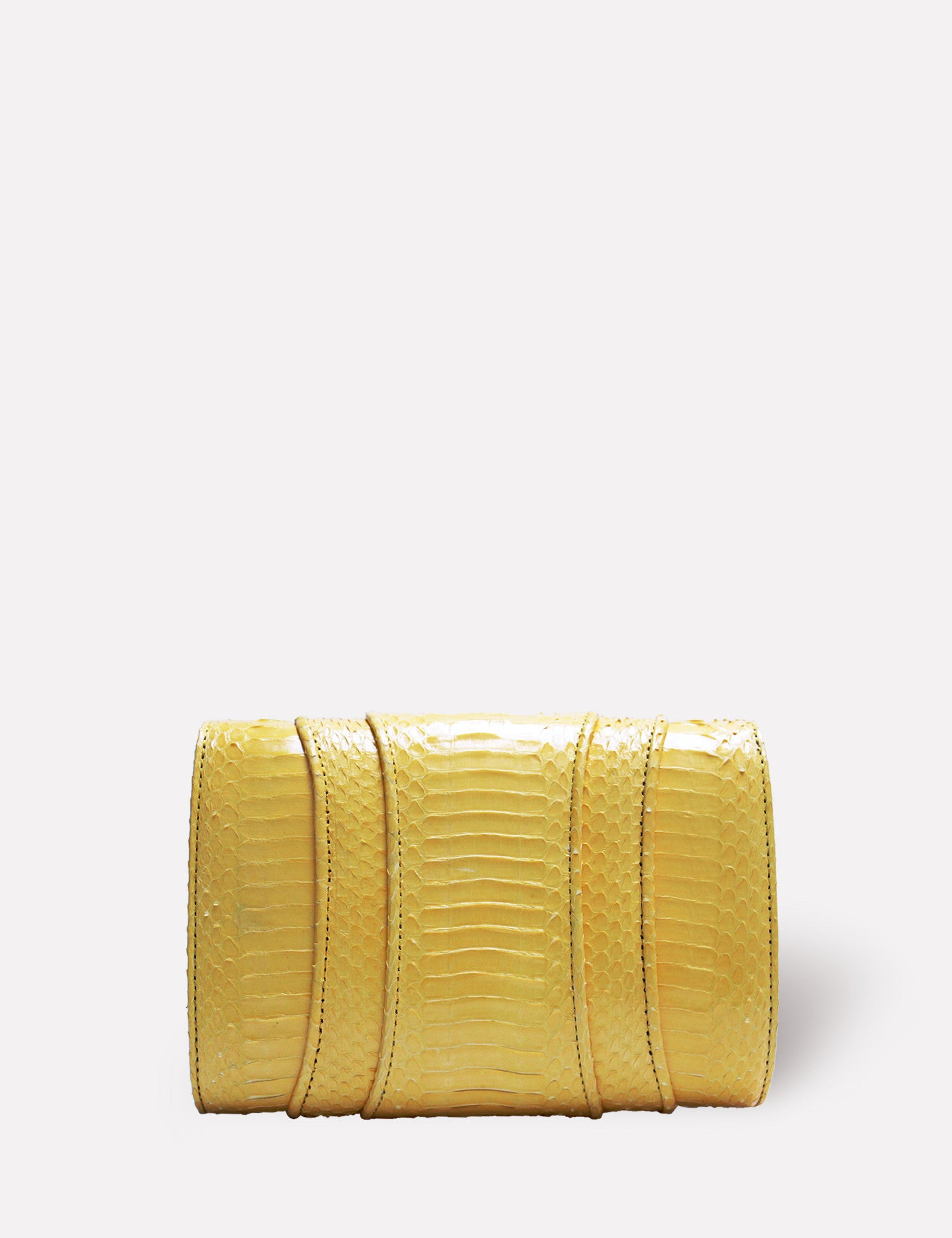 Khirma New York Unique Luxury Designer Exotic Skin Watersnake Clutch Purse. Removable chain for the perfect evening clutch in yellow. Can also be worn as a crossbody or shoulder bag