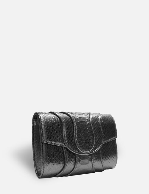 Khirma New York Unique Luxury Designer Exotic Skin Watersnake Clutch Purse. Removable chain for the perfect evening clutch in Metallic Gunmetal. Can also be worn as a crossbody or shoulder bag